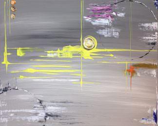 Абстракция серо-желтая 40x50 Холст, акрил