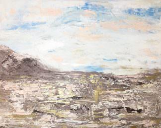 Пейзаж бежево-золотой 40x50 Холст, акрил
