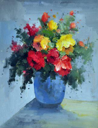 «Букет в синей вазе» картина 30х40 арт. 3Ц1