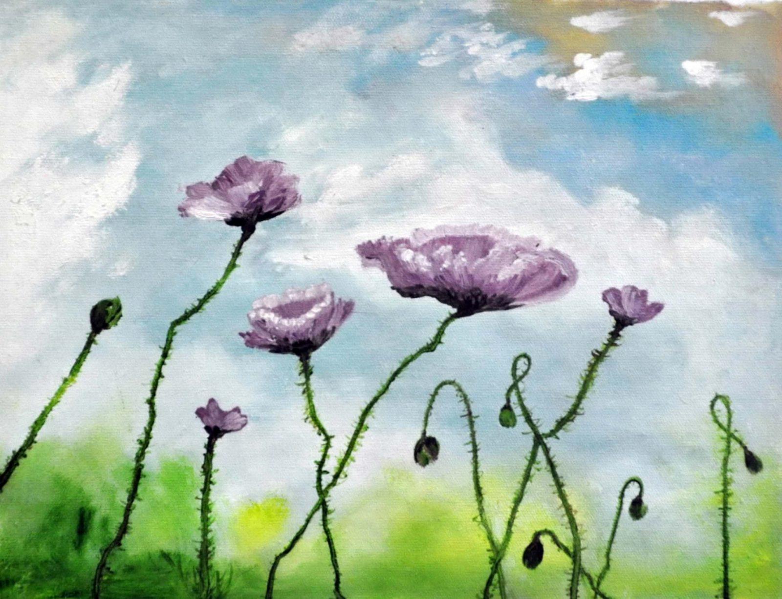 «Лиловые маки» картина 30х40 арт. 3Ц46
