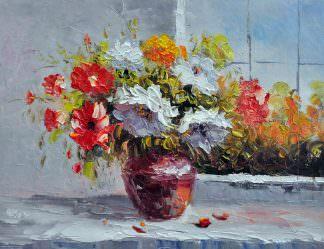 «Букет георгинов у окна»картина 30х40 арт. 3Ц50