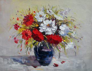 «Букет георгинов на столе» картина 30х40 арт. 3Ц55