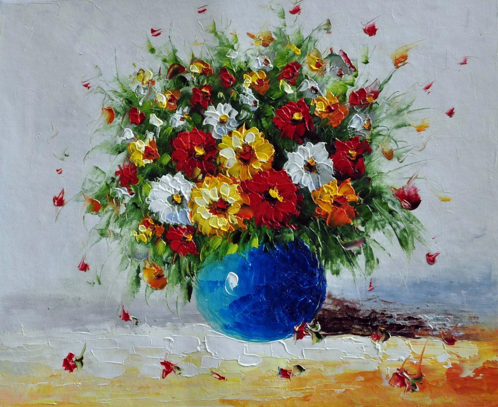 «Полевые цветы в синей вазе» картина 50х60 арт. Ц001