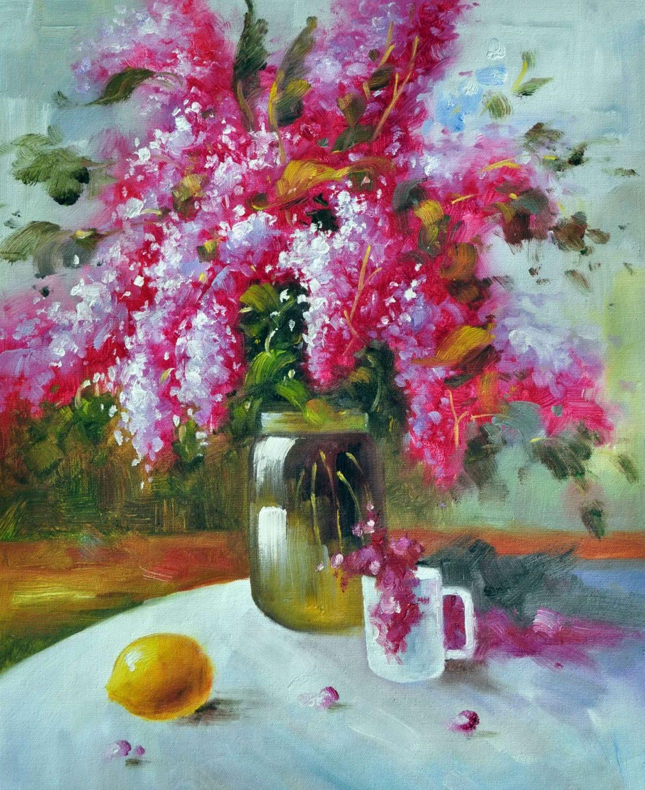 «Букет сирени на столе» картина 50х60 арт. Ц026