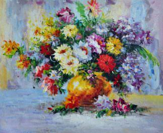 «Хризантемы в вазе» картина 50х60 арт. Ц037