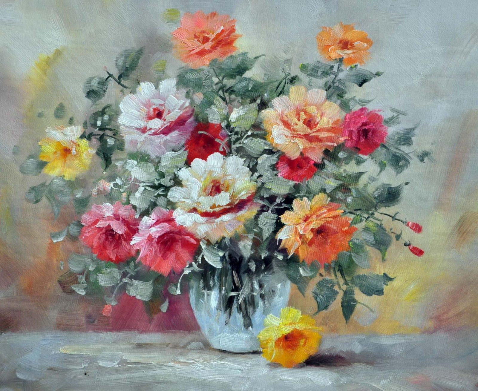 «Розы в вазе»картина 50х60 арт. Ц076