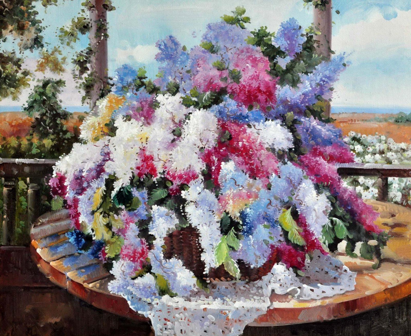 «Сирень на веранде» картина 50х60 арт. Ц123
