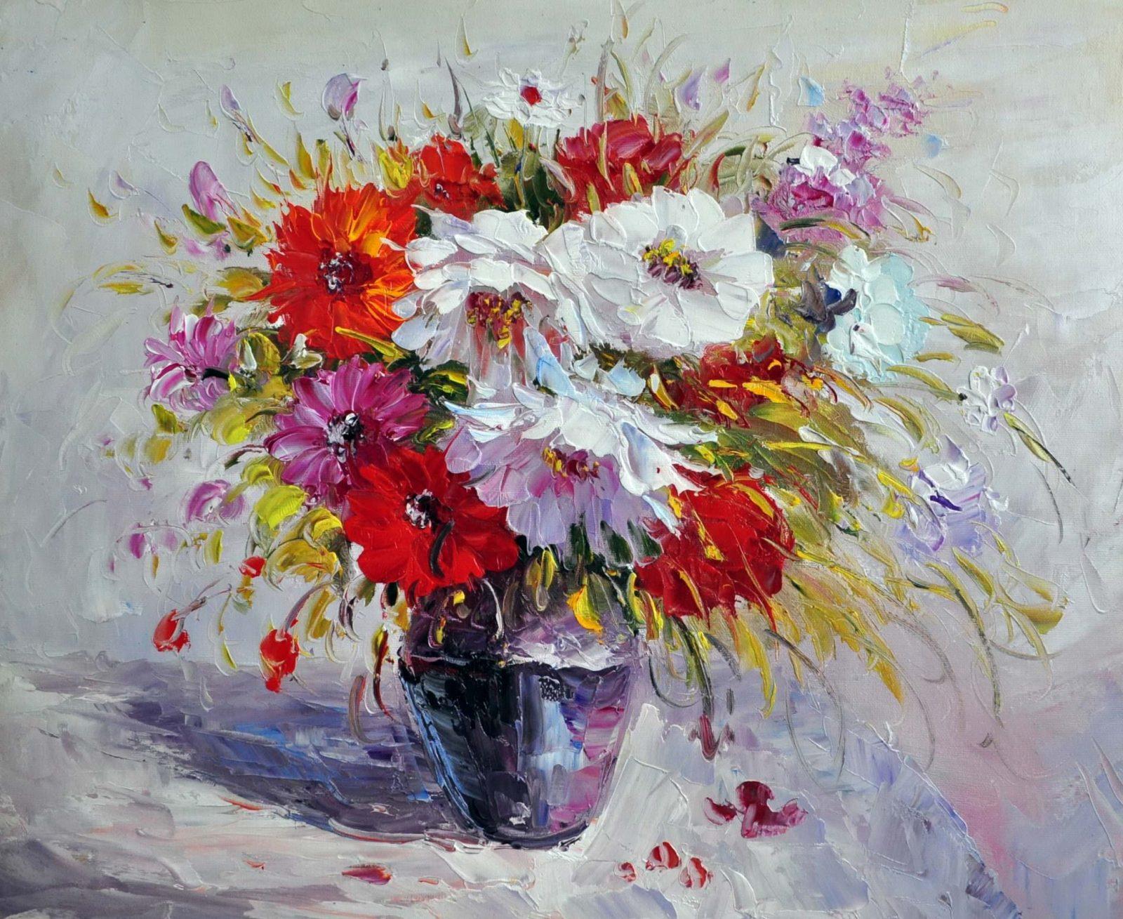 «Георгины в синей вазе» картина 50х60 арт. Ц125