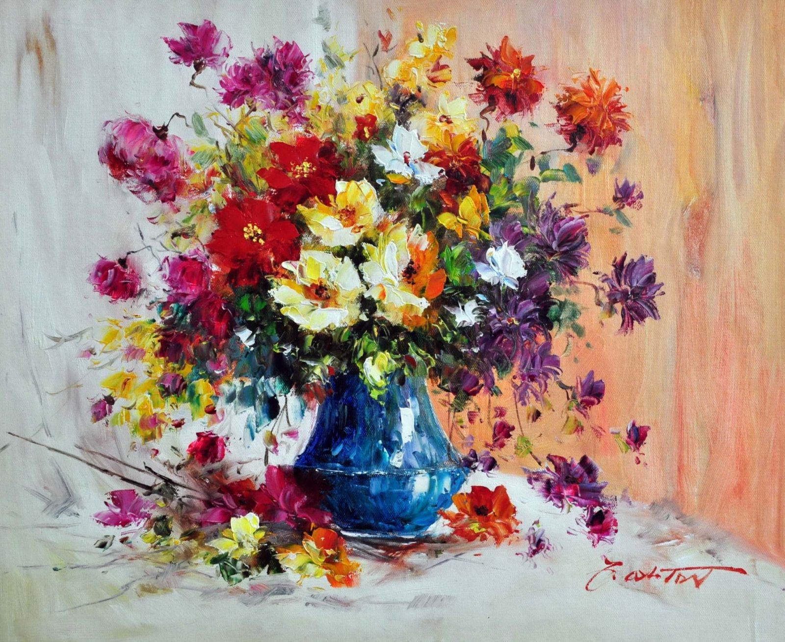 «Полевые цветы в синей вазе» картина 50х60 арт. Ц144