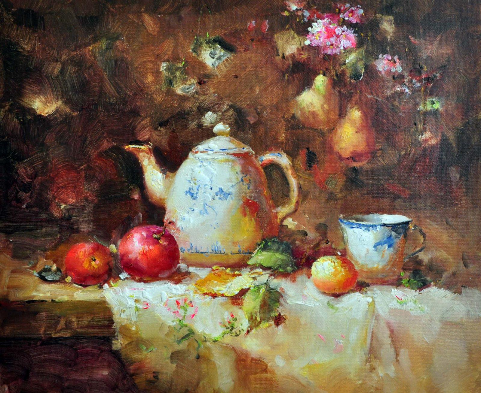 «Натюрморт с фарфоровым чайником» картина 50х60 арт. Ц153