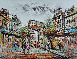 «Прогулка по Парижу» картина 30х40 арт.3ГР18