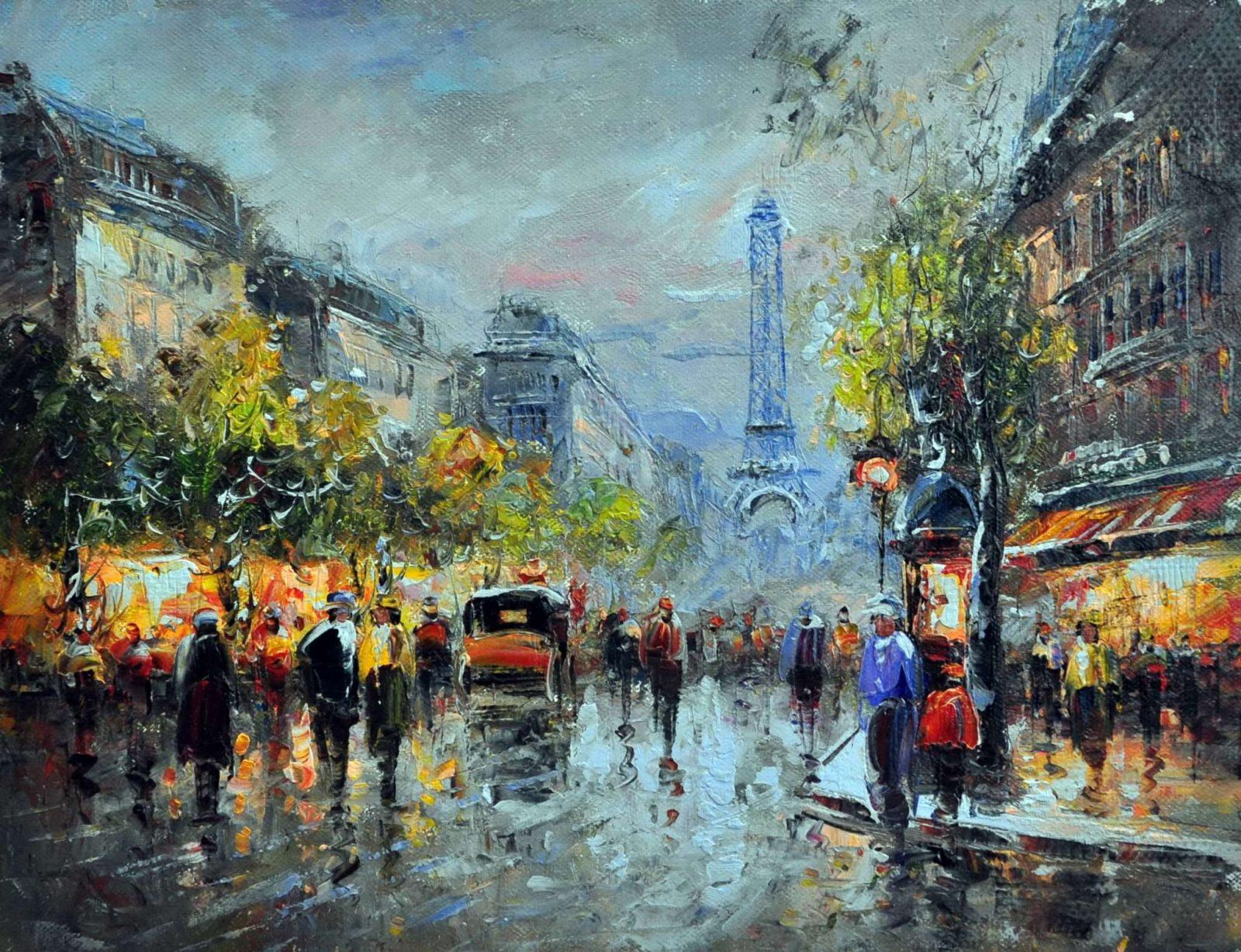 «Прогулка по вечернему Парижу» картина 30х40 арт.3ГР58