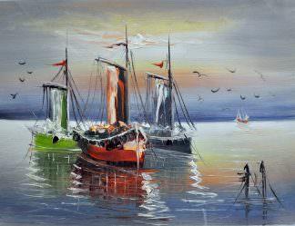 «Три лодки» картина 30х40 арт.3Л3