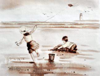 «Дети у моря» картина 30х40 арт.3М2