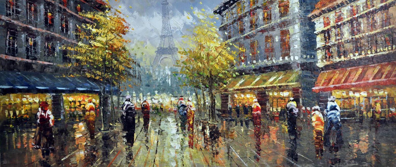 «Париж после дождя» картина 30х70 арт.7Р5