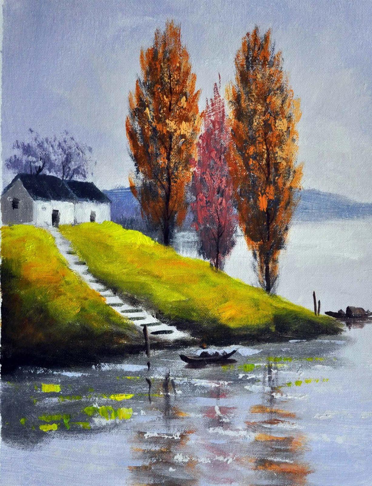 «Дом у озера» картина 30х40 арт.3П29