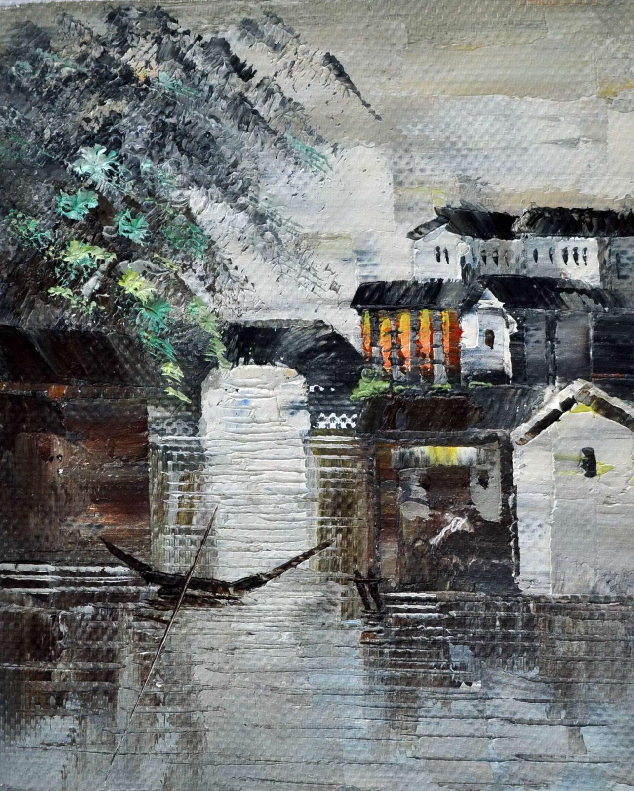 «Пейзаж с мостом» картина 20х25 арт.2Е10