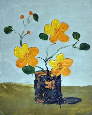 «Желтые цветы в вазе» картина 20х25 арт.2Е50