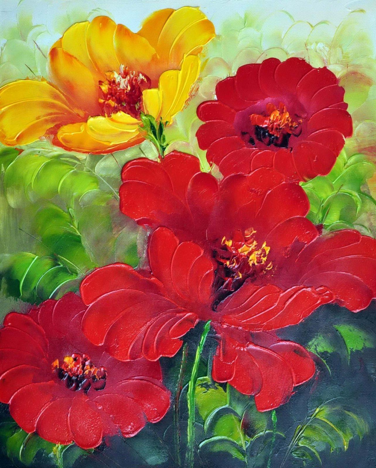 «Красные и желтые цветы» картина 20х25 арт.2Е52