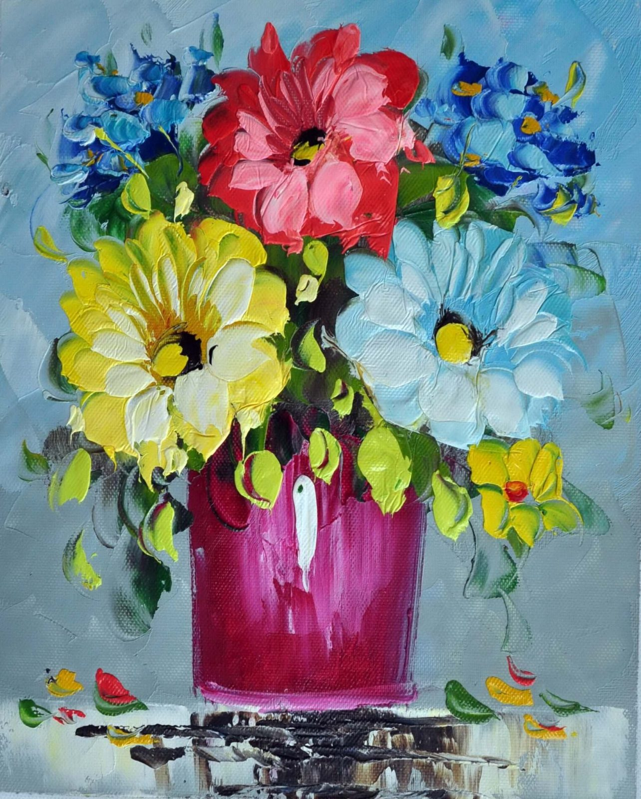 «Цветы в вазе» картина 20х25 арт.2Е66