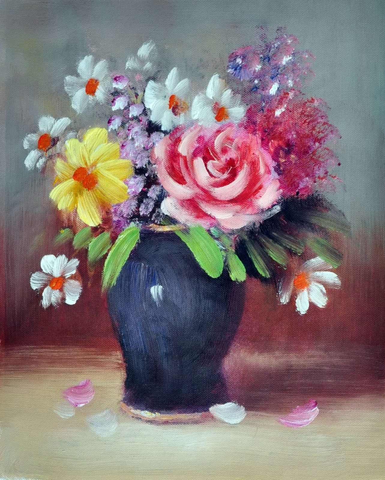 «Букет с розой» картина 20х25 арт.2Е67