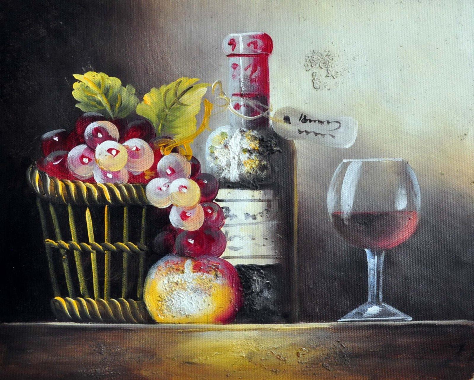 «Натюрморт с вином» картина 20х25 арт.2Е74