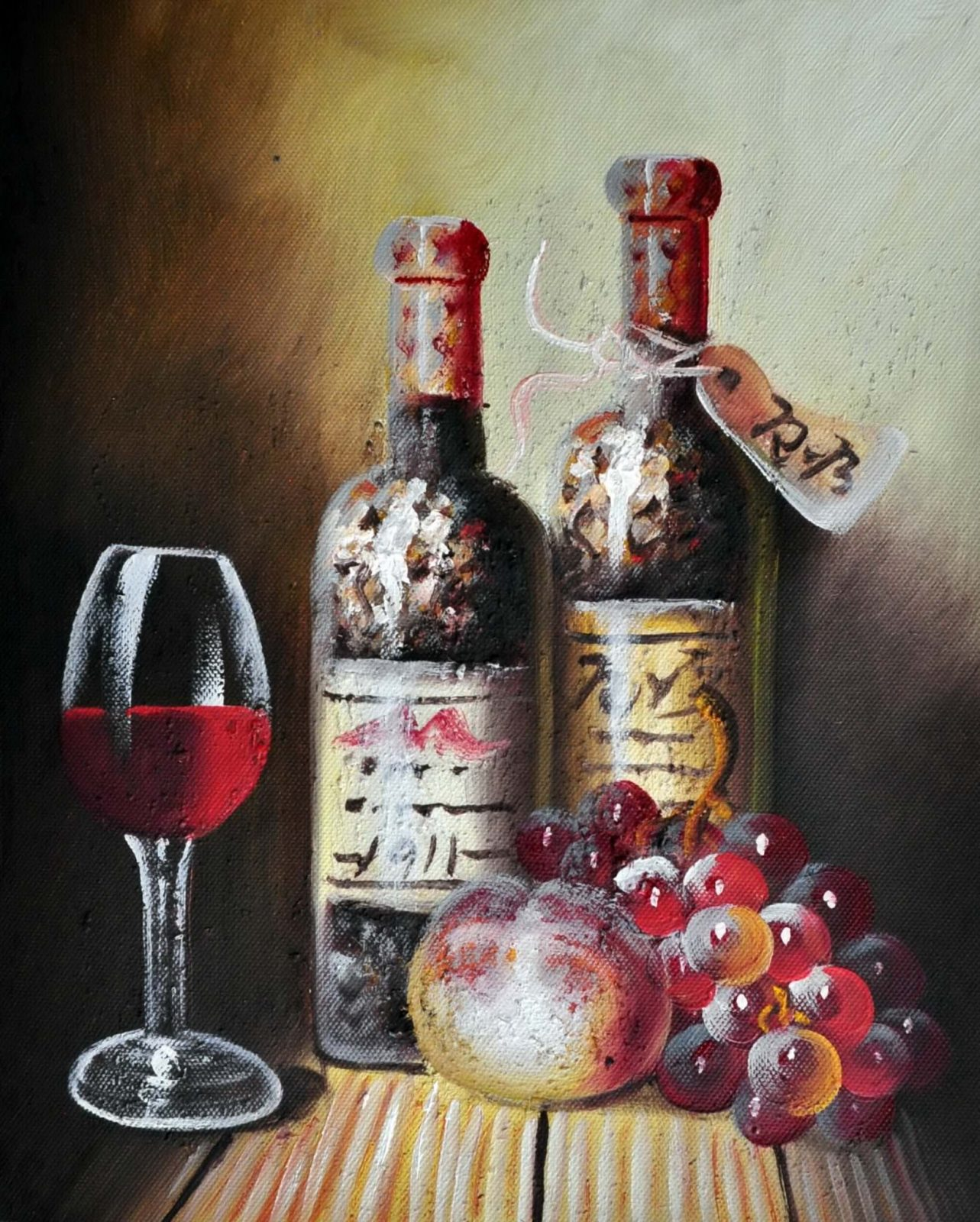 «Натюрморт с вином» картина 20х25 арт.2Е77