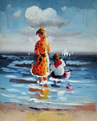 «Дети у моря» картина 20х25 арт.2Е80