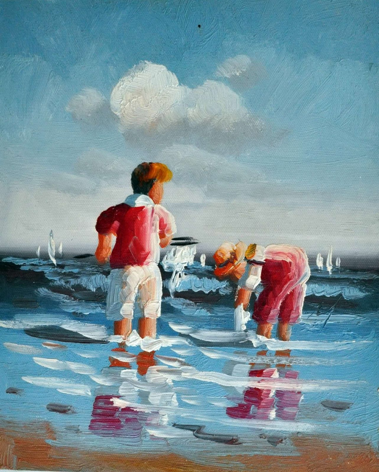 «Дети у моря» картина 20х25 арт.2Е81