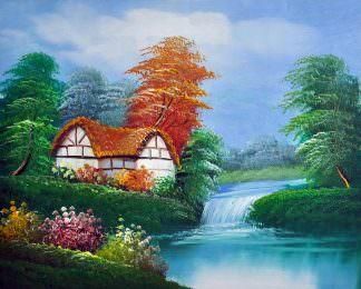 «Дом у водопада» картина 20х25 арт.2Е94