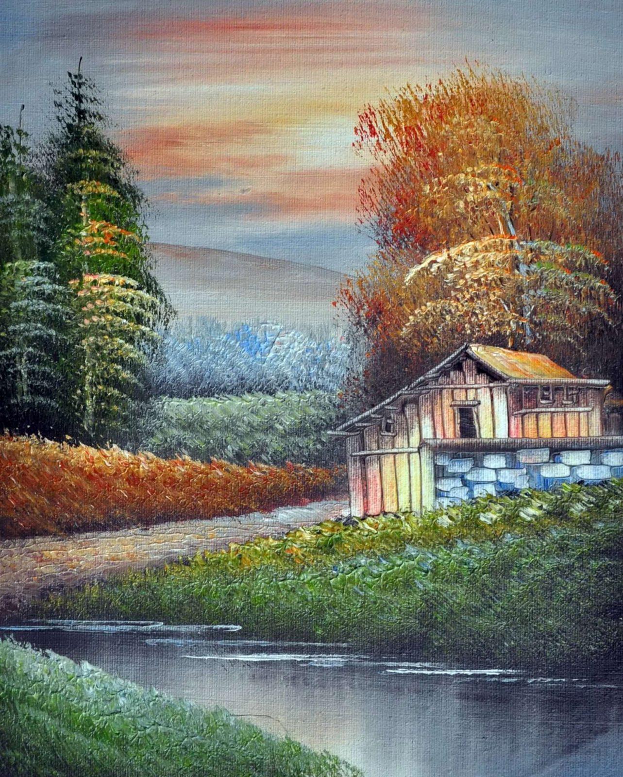 «Домик у реки» картина 20х25 арт.2Е99