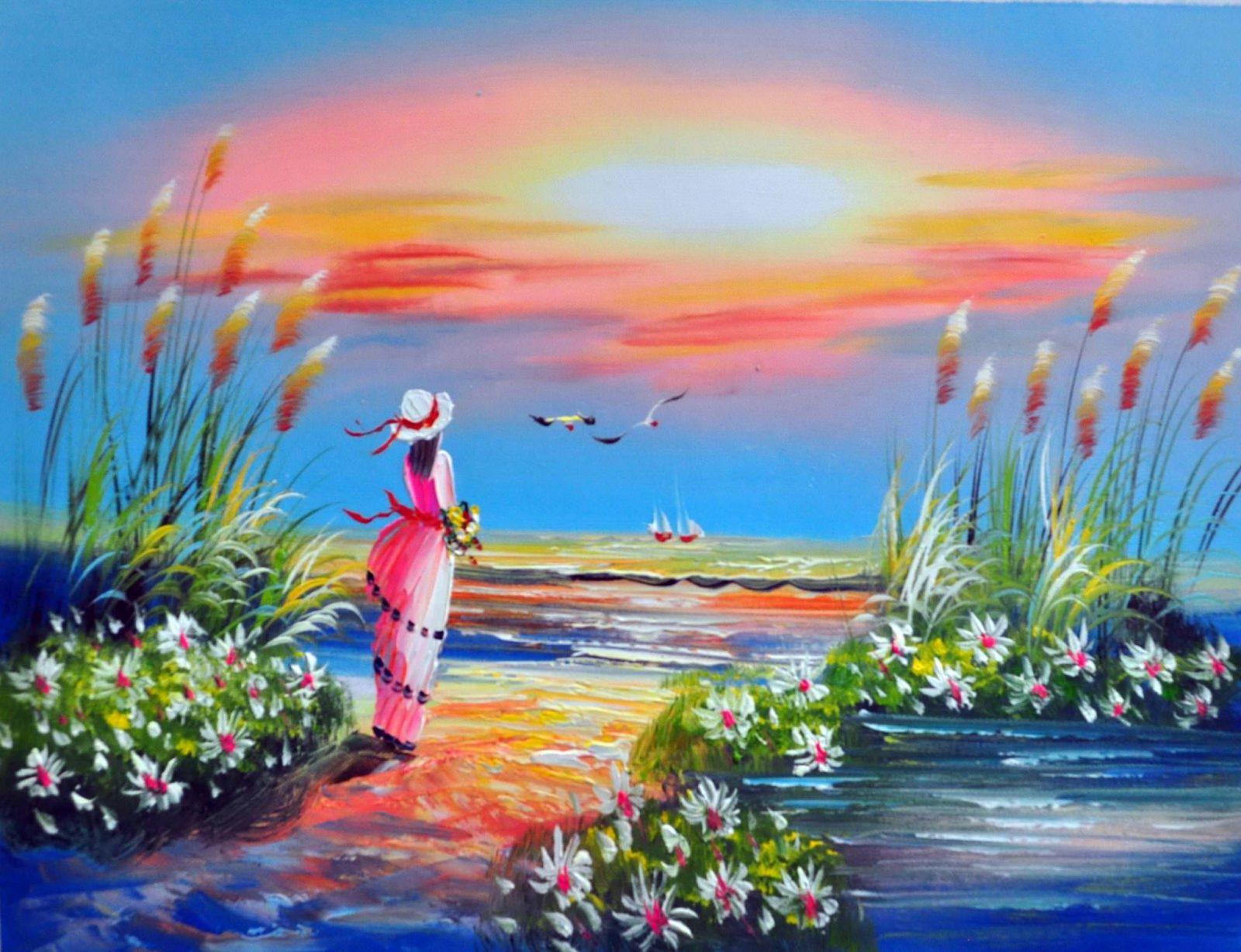 «Девушка у моря» картина 30х40 арт.3Р2