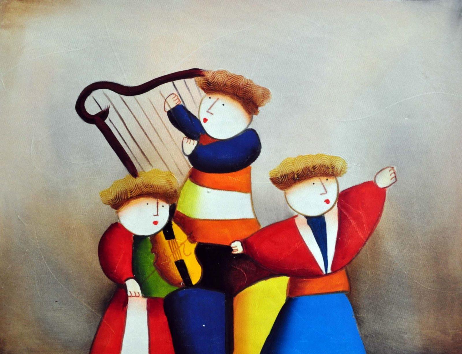 «Музыкальное трио» картина 30х40 арт.3Р22