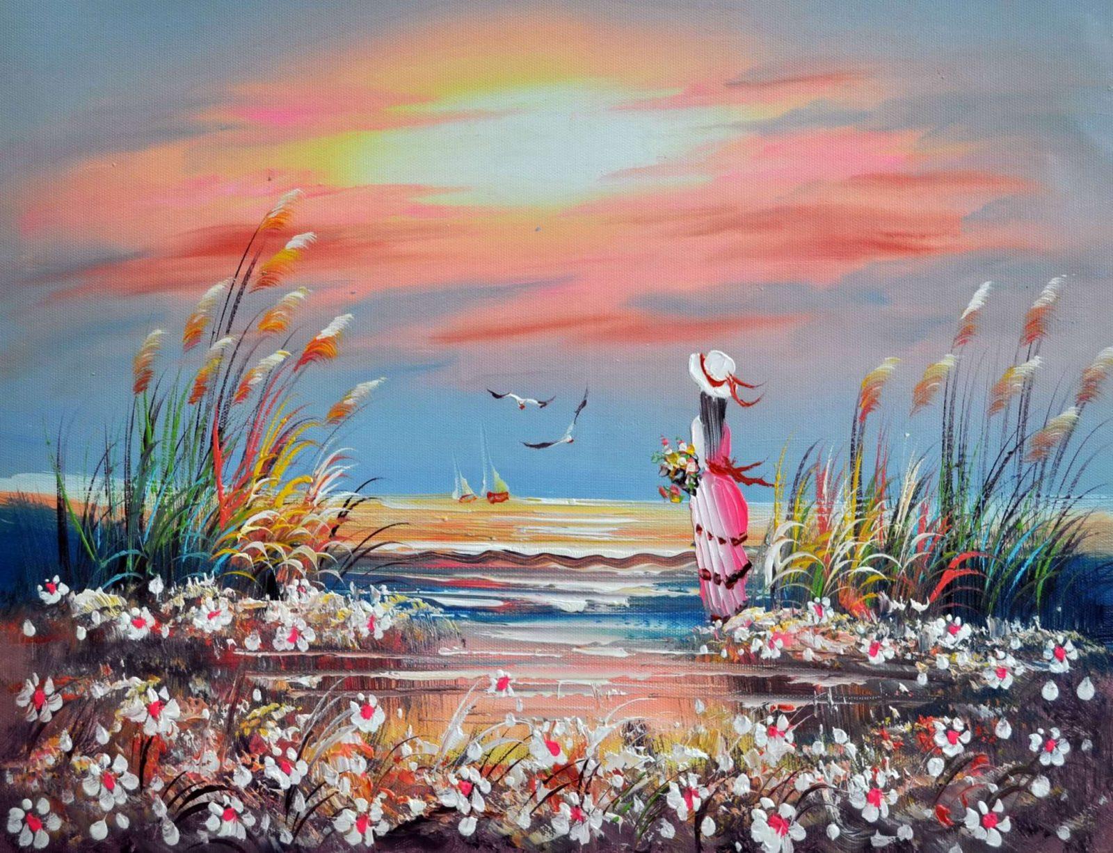 «Девушка у моря» картина 30х40 арт.3Р26