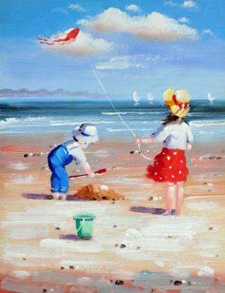 «Дети на пляже» картина 30х40 арт.3Р35