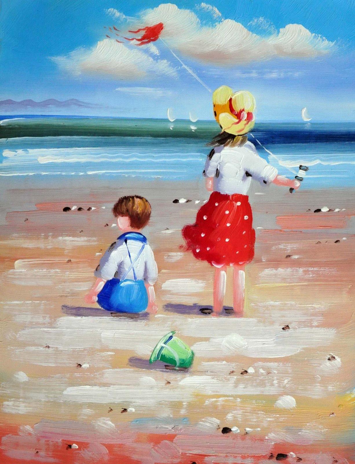 «Дети на пляже» картина 30х40 арт.3Р036