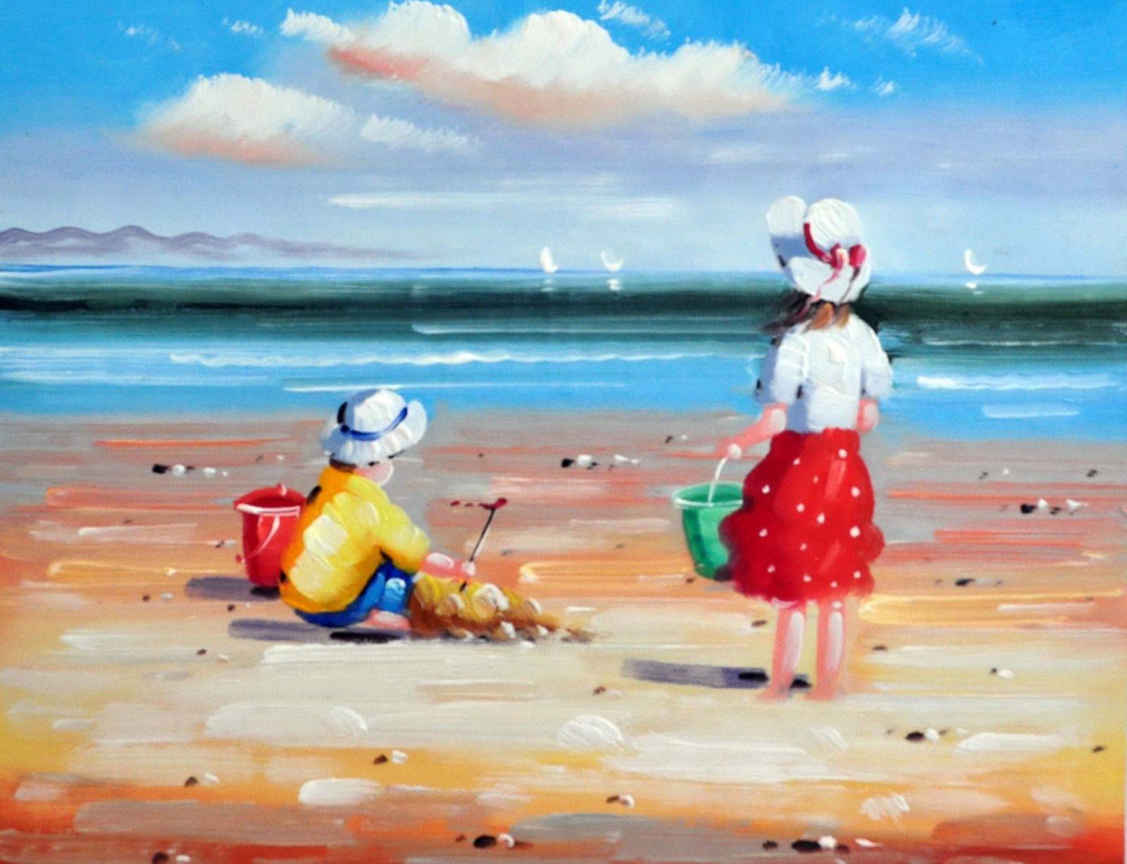 «Дети на пляже» картина 30х40 арт.3Р37
