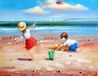 «Дети на пляже» картина 30х40 арт.3Р38
