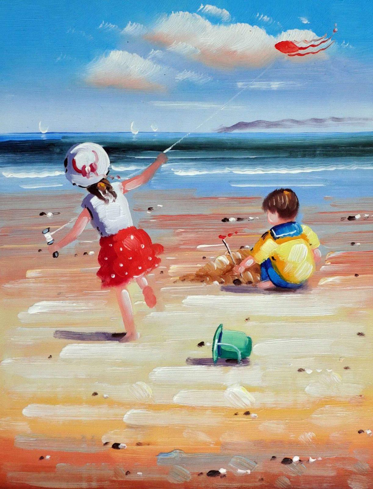 «Дети на пляже» картина 30х40 арт.3Р39