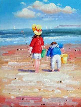 «Дети на пляже» картина 30х40 арт.3Р040