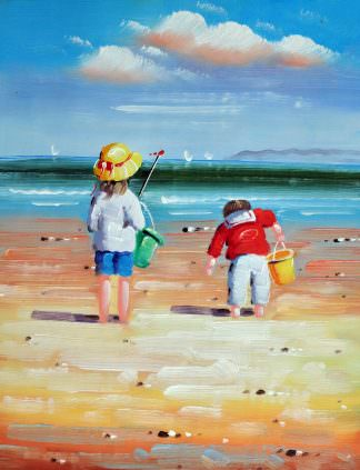 «Дети на пляже» картина 30х40 арт.3Р041