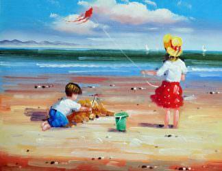 «Дети на пляже» картина 30х40 арт.3Р43