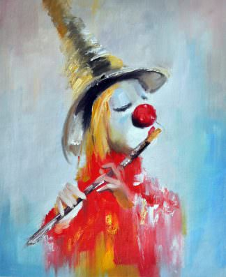 «Клоун с флейтой» картина 50х60 арт. 5Р49