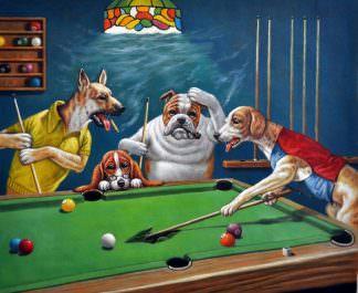 «Собаки на бильярде по мотивам Кулиджа» картина 50х60 арт. 5Р50
