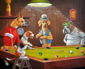 «Собаки на бильярде по мотивам Кулиджа» картина 50х60 арт. 5Р51
