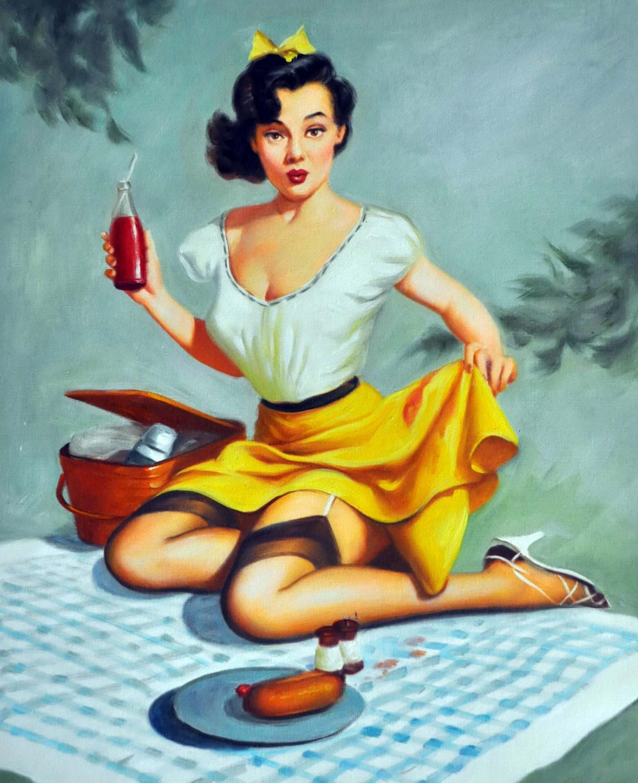 «Девушка на пикнике» картина 50х60 арт. 5Р057
