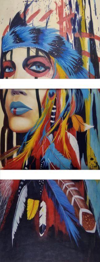 """Триптих """"Native american girl"""" 3 картины 40Х50"""