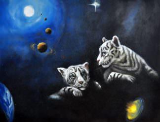 «Тигры в космосе» картина 30х40 арт. 3А6