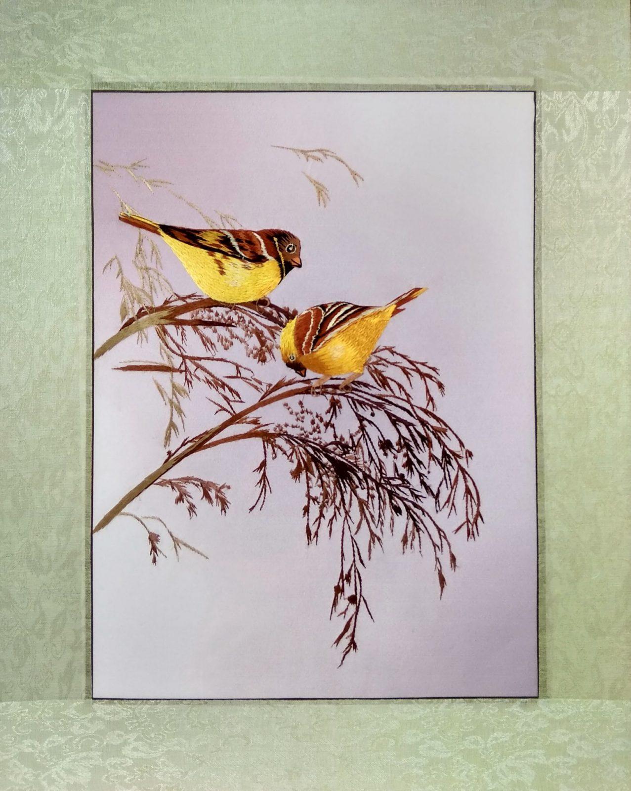 Вышивка шелком 41х51 «Птицы на ветке» арт.В01