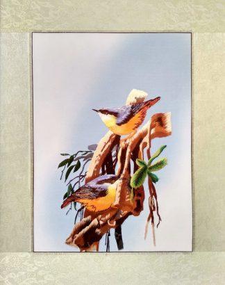Вышивка шелком 41х51 «Птицы» арт.В02